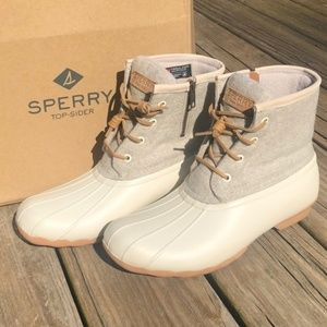Sperry Saltwater Wool Linen Off White Duck Boots